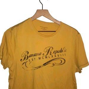 4/$25 Banana Republic Mens T Shirt Yellow Medium